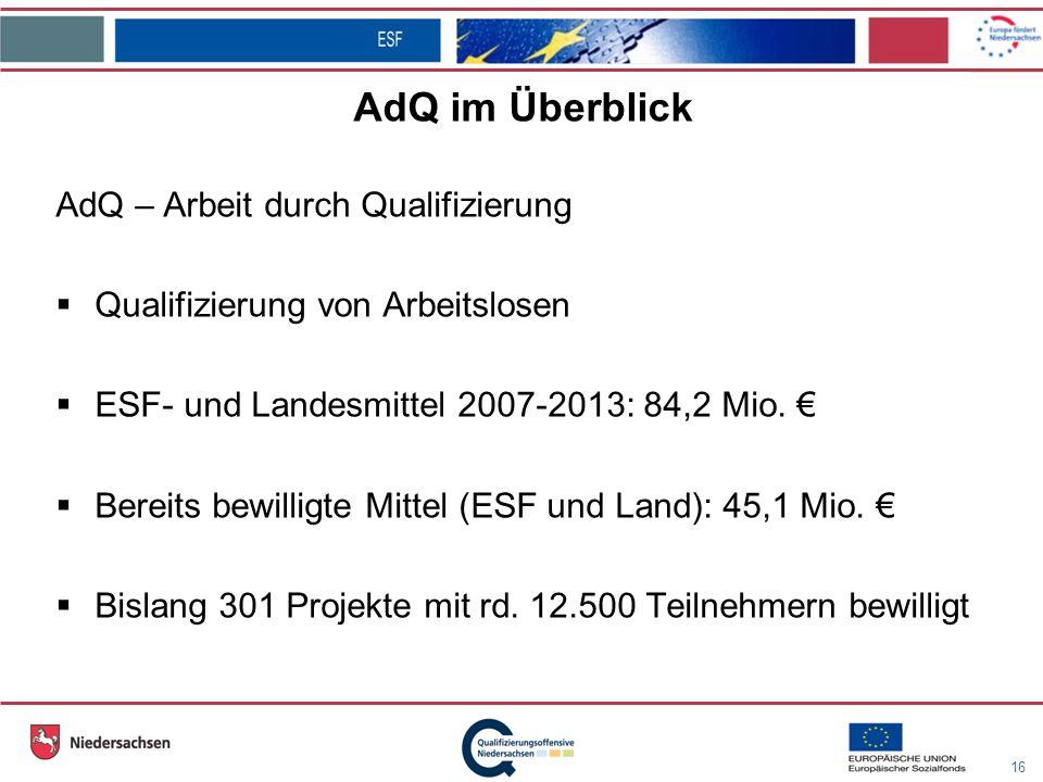 16 AdQ im Überblick AdQ – Arbeit durch Qualifizierung Qualifizierung von Arbeitslosen ESF- und Landesmittel 2007-2013: 84,2 Mio.
