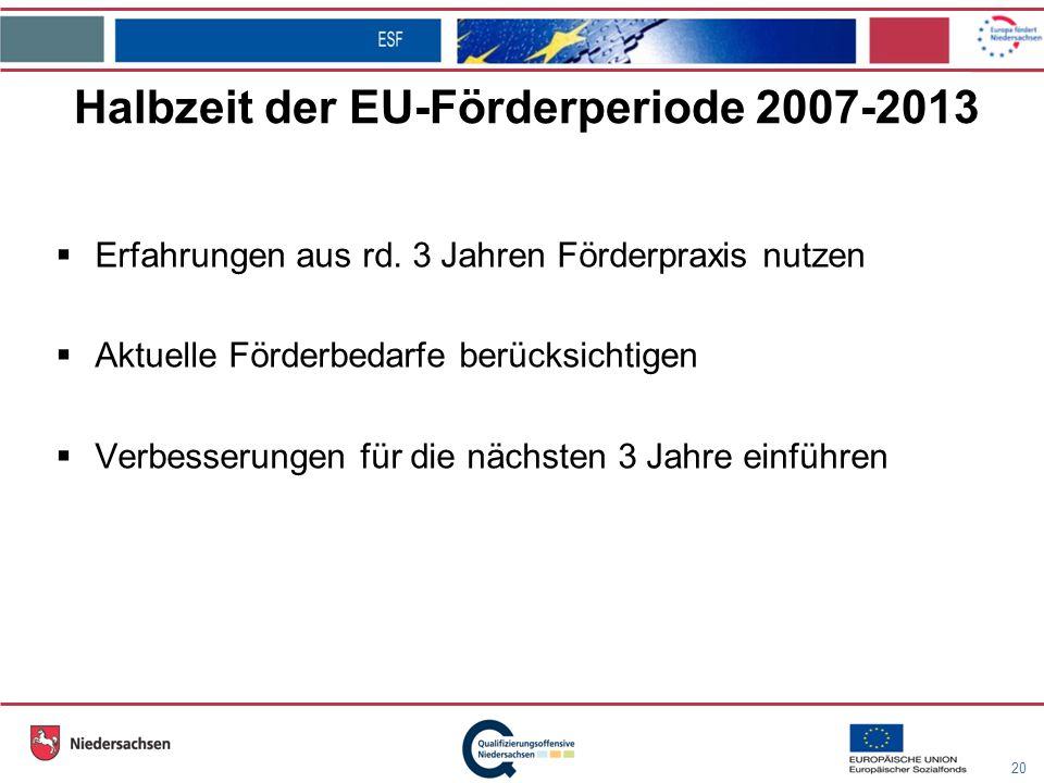 20 Halbzeit der EU-Förderperiode 2007-2013 Erfahrungen aus rd.