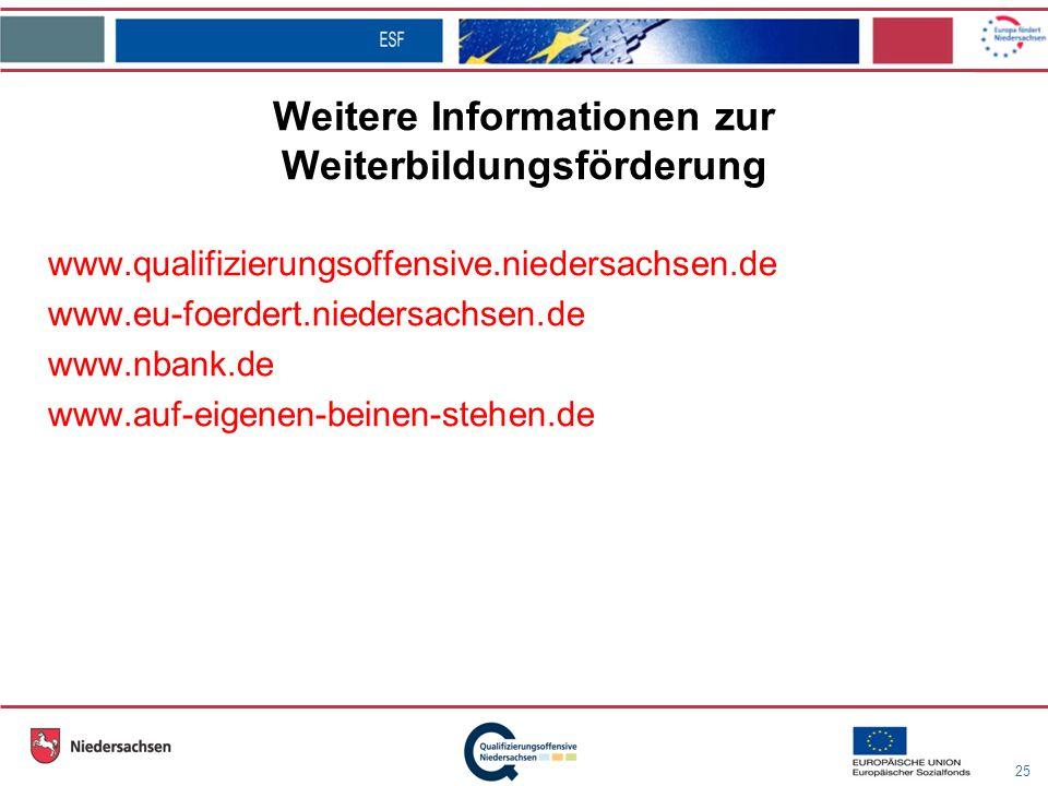 25 Weitere Informationen zur Weiterbildungsförderung www.qualifizierungsoffensive.niedersachsen.de www.eu-foerdert.niedersachsen.de www.nbank.de www.auf-eigenen-beinen-stehen.de