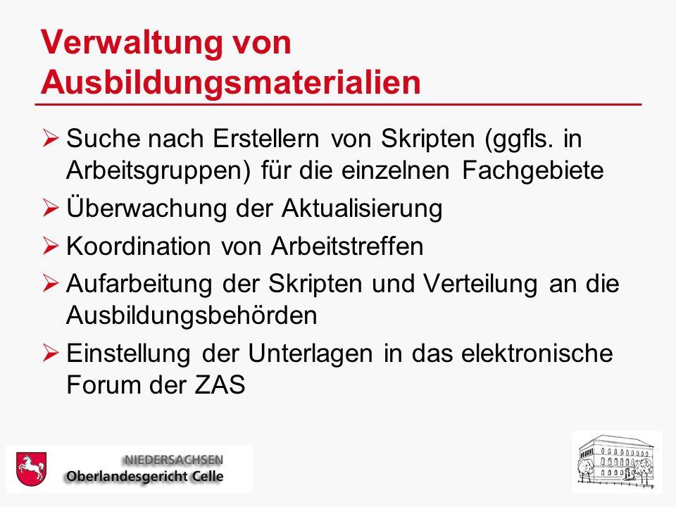 Verwaltung von Ausbildungsmaterialien Suche nach Erstellern von Skripten (ggfls.