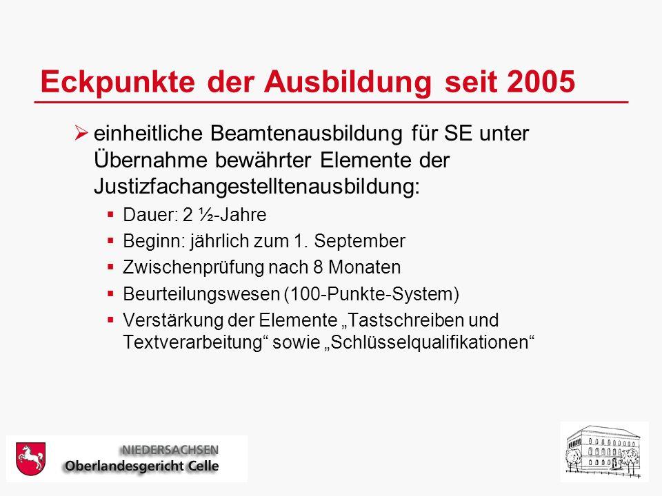 Eckpunkte der Ausbildung seit 2005 einheitliche Beamtenausbildung für SE unter Übernahme bewährter Elemente der Justizfachangestelltenausbildung: Dauer: 2 ½-Jahre Beginn: jährlich zum 1.