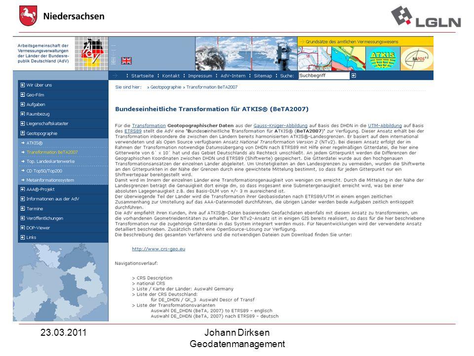 23.03.2011Johann Dirksen Geodatenmanagement