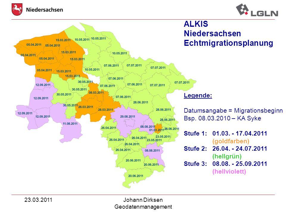 23.03.2011Johann Dirksen Geodatenmanagement ALKIS Niedersachsen Echtmigrationsplanung Legende: Datumsangabe = Migrationsbeginn Bsp. 08.03.2010 – KA Sy