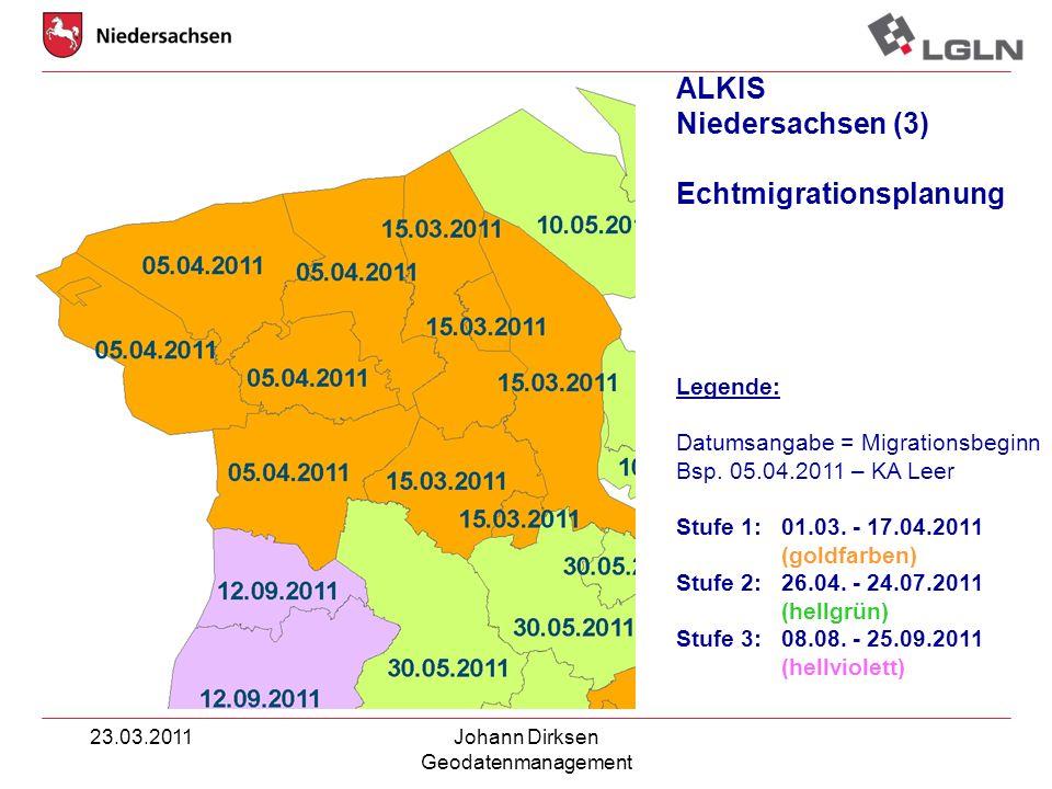 23.03.2011Johann Dirksen Geodatenmanagement ALKIS Niedersachsen (3) Echtmigrationsplanung Legende: Datumsangabe = Migrationsbeginn Bsp. 05.04.2011 – K