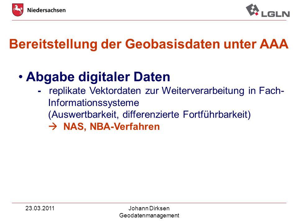 23.03.2011Johann Dirksen Geodatenmanagement Abgabe digitaler Daten - replikate Vektordaten zur Weiterverarbeitung in Fach- Informationssysteme (Auswer