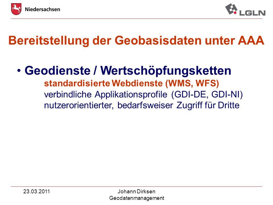 23.03.2011Johann Dirksen Geodatenmanagement Geodienste / Wertschöpfungsketten standardisierte Webdienste (WMS, WFS) verbindliche Applikationsprofile (