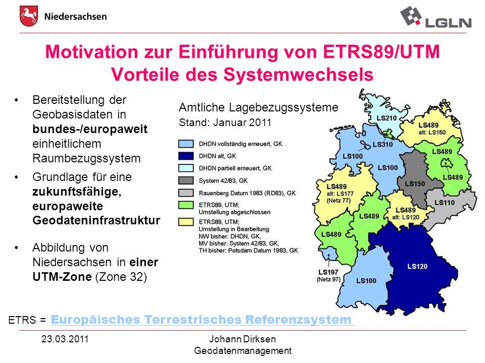 23.03.2011Johann Dirksen Geodatenmanagement Abbildung von Niedersachsen in einer UTM-Zone (Zone 32) Bereitstellung der Geobasisdaten in bundes-/europa