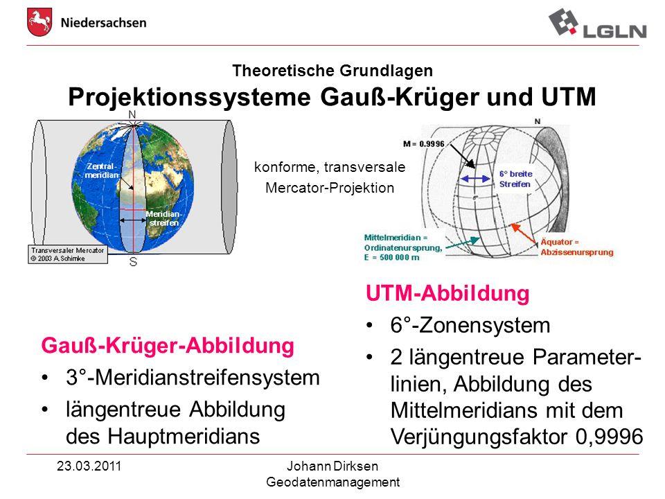 23.03.2011Johann Dirksen Geodatenmanagement Theoretische Grundlagen Projektionssysteme Gauß-Krüger und UTM Gauß-Krüger-Abbildung 3°-Meridianstreifensy