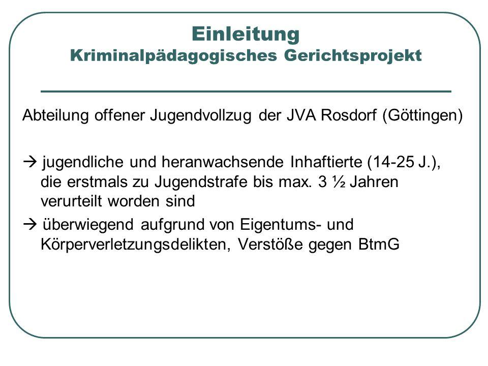 Einleitung Kriminalpädagogisches Gerichtsprojekt Abteilung offener Jugendvollzug der JVA Rosdorf (Göttingen) jugendliche und heranwachsende Inhaftiert