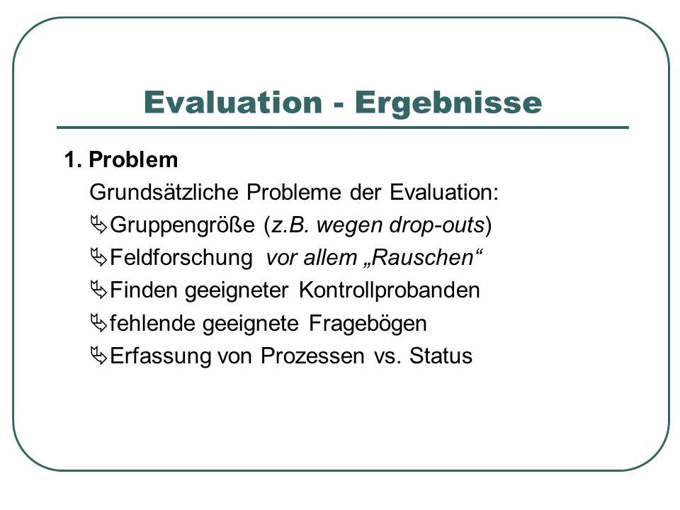 Evaluation - Ergebnisse 1. Problem Grundsätzliche Probleme der Evaluation: Gruppengröße (z.B. wegen drop-outs) Feldforschung vor allem Rauschen Finden