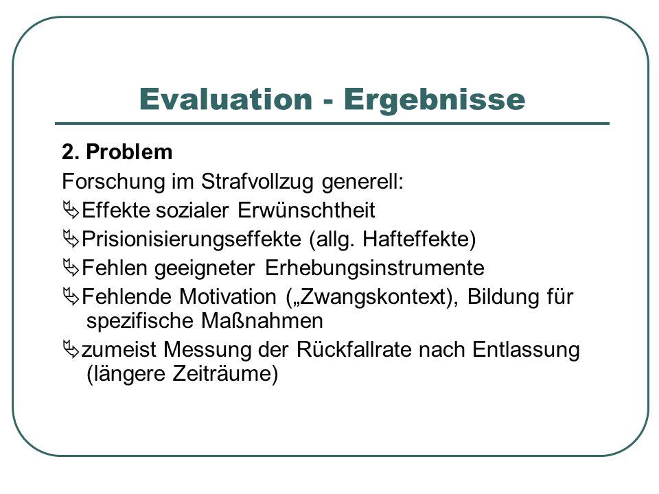 Evaluation - Ergebnisse 2. Problem Forschung im Strafvollzug generell: Effekte sozialer Erwünschtheit Prisionisierungseffekte (allg. Hafteffekte) Fehl