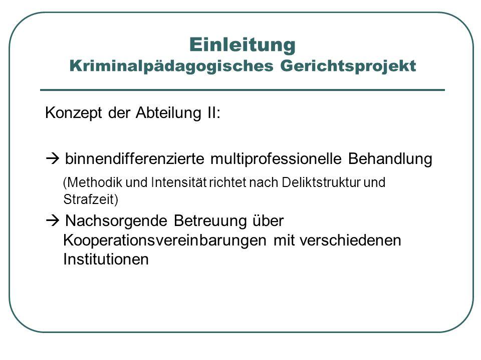 Einleitung Kriminalpädagogisches Gerichtsprojekt Konzept der Abteilung II: binnendifferenzierte multiprofessionelle Behandlung (Methodik und Intensitä