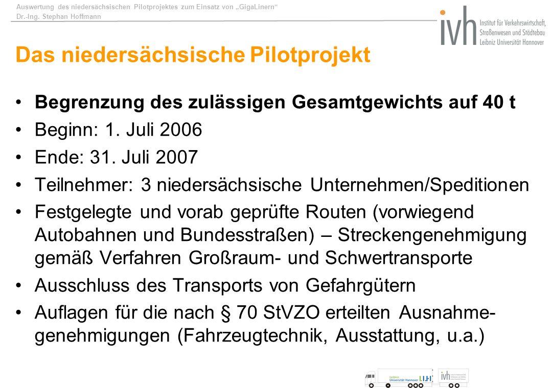 Auswertung des niedersächsischen Pilotprojektes zum Einsatz von GigaLinern Dr.-Ing. Stephan Hoffmann Das niedersächsische Pilotprojekt Begrenzung des