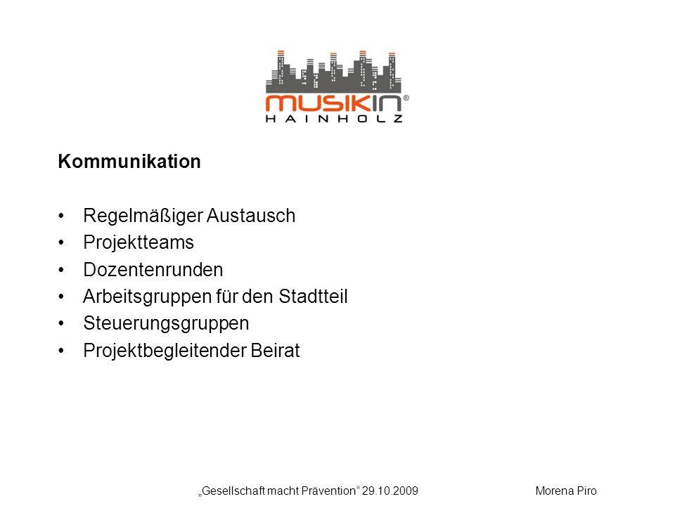 Kommunikation Regelmäßiger Austausch Projektteams Dozentenrunden Arbeitsgruppen für den Stadtteil Steuerungsgruppen Projektbegleitender Beirat Gesells