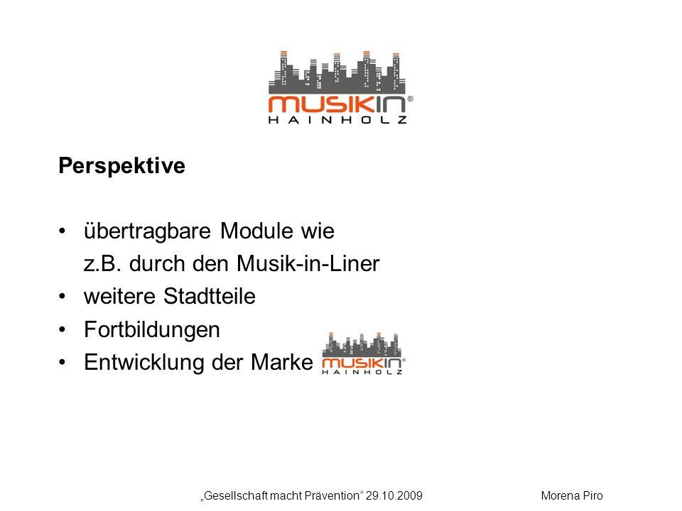 Perspektive übertragbare Module wie z.B. durch den Musik-in-Liner weitere Stadtteile Fortbildungen Entwicklung der Marke Gesellschaft macht Prävention
