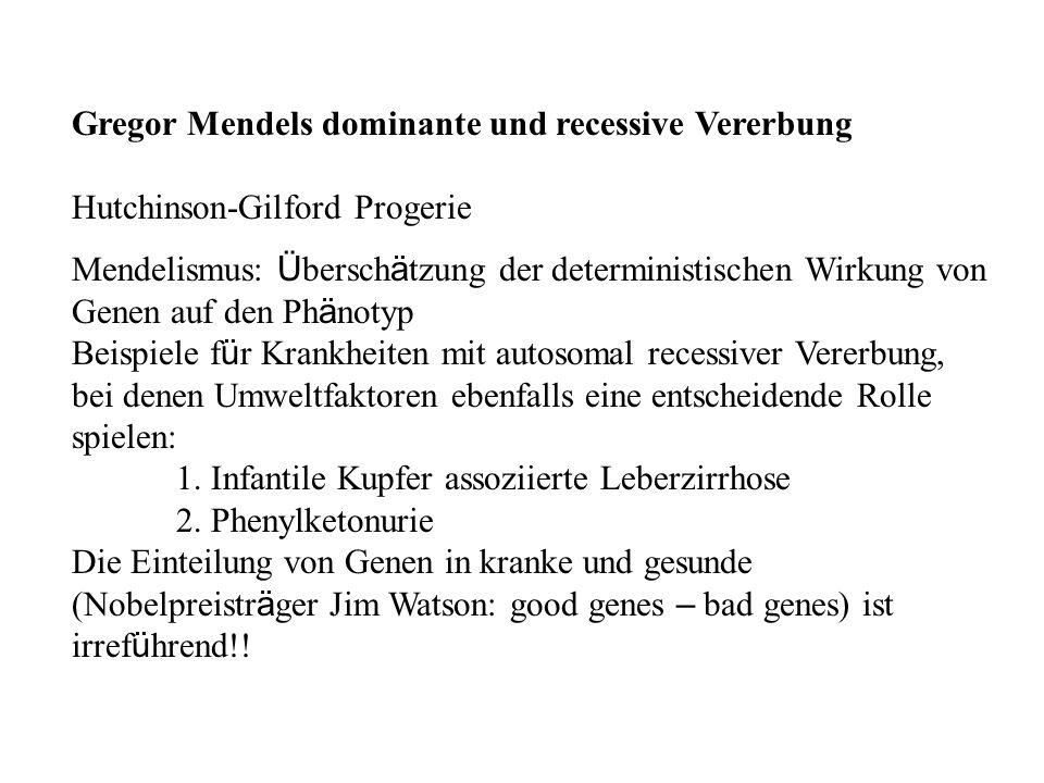 Gregor Mendels dominante und recessive Vererbung Hutchinson-Gilford Progerie Mendelismus: Ü bersch ä tzung der deterministischen Wirkung von Genen auf
