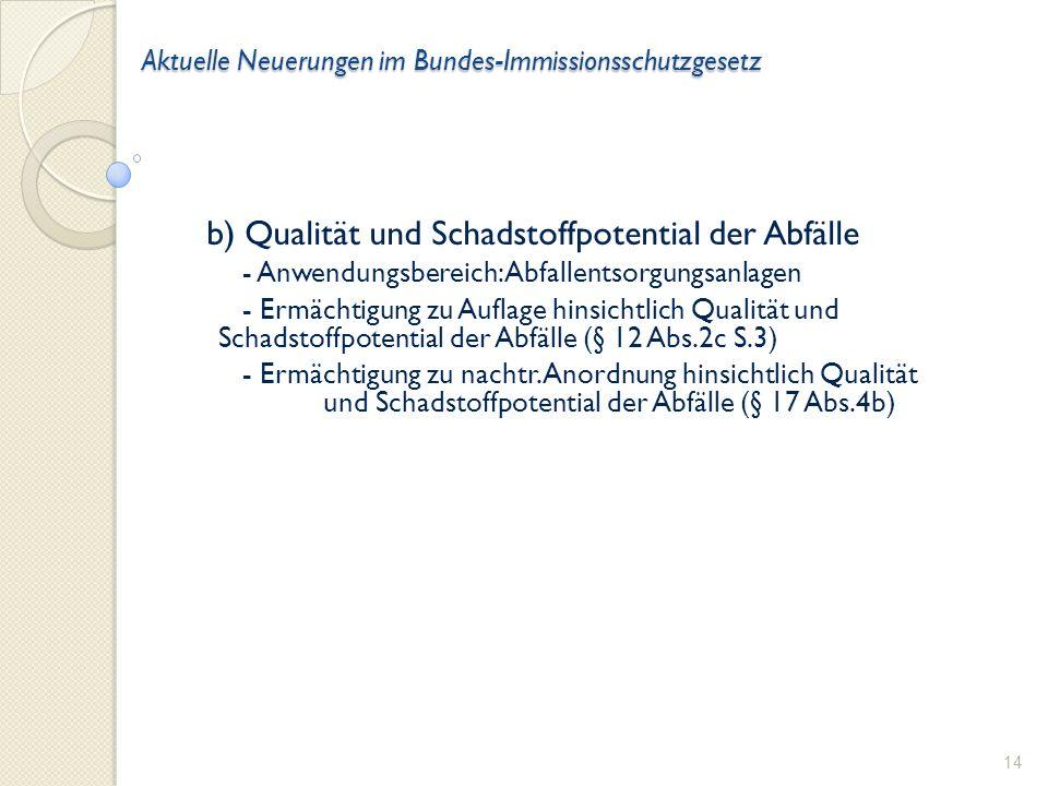 Aktuelle Neuerungen im Bundes-Immissionsschutzgesetz b) Qualität und Schadstoffpotential der Abfälle - Anwendungsbereich: Abfallentsorgungsanlagen - Ermächtigung zu Auflage hinsichtlich Qualität und Schadstoffpotential der Abfälle (§ 12 Abs.2c S.3) - Ermächtigung zu nachtr.