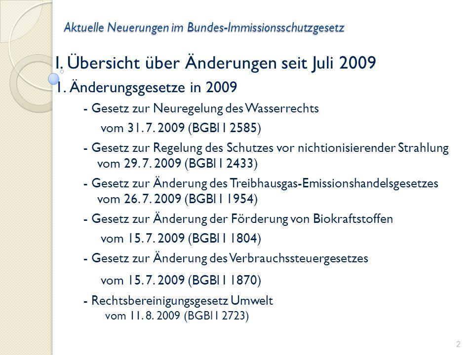 Aktuelle Neuerungen im Bundes-Immissionsschutzgesetz I.