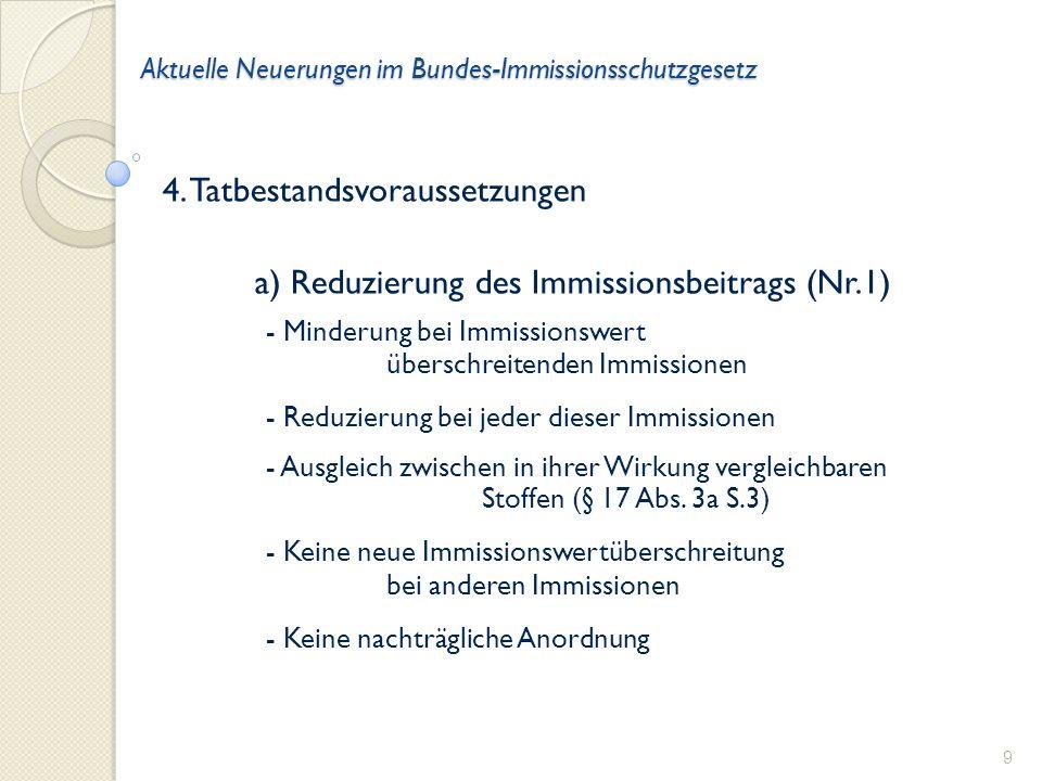 Aktuelle Neuerungen im Bundes-Immissionsschutzgesetz b) Weitere Luftreinhaltemaßnahmen (Nr.2) - an der Gesamtanlage - nicht bei anderen Anlagen - anspruchsvoller als Stand der Technik bei Neuanlagen 10