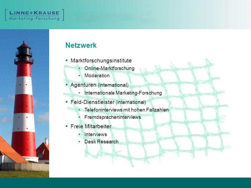 Netzwerk Marktforschungsinstitute Online-Marktforschung Moderation Agenturen (international) Internationale Marketing-Forschung Feld-Dienstleister (in