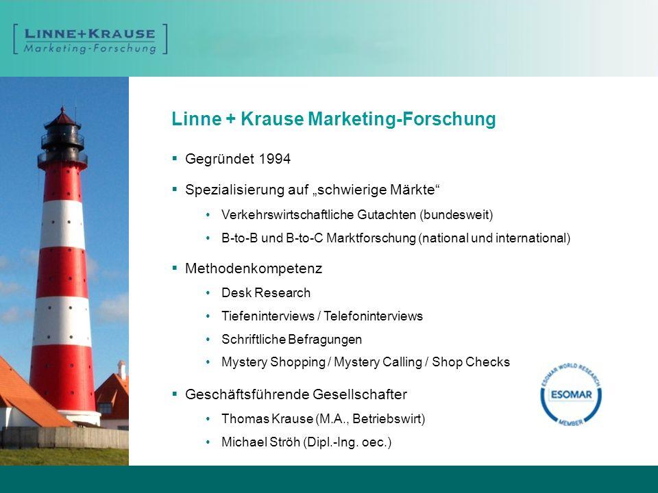 Linne + Krause Marketing-Forschung Gegründet 1994 Spezialisierung auf schwierige Märkte Verkehrswirtschaftliche Gutachten (bundesweit) B-to-B und B-to