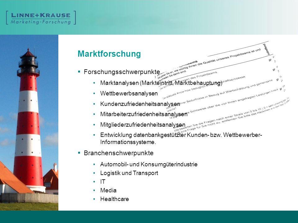 Marktforschung Forschungsschwerpunkte Marktanalysen (Markteintritt, Marktbehauptung) Wettbewerbsanalysen Kundenzufriedenheitsanalysen Mitarbeiterzufri