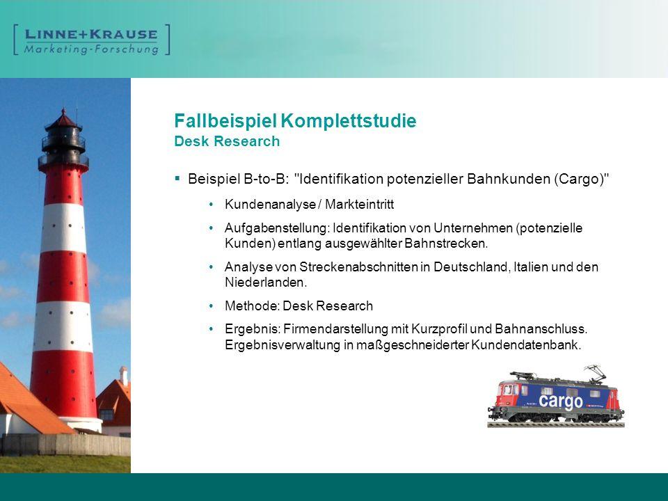 Fallbeispiel Ergänzungsstudie Desk Research Beispiel B-to-B: Werbeträger in Deutschland Marktstudie / Marktbehauptung Aufgabenstellung: Inhaltliche Ergänzung einer quantitativen Studie.