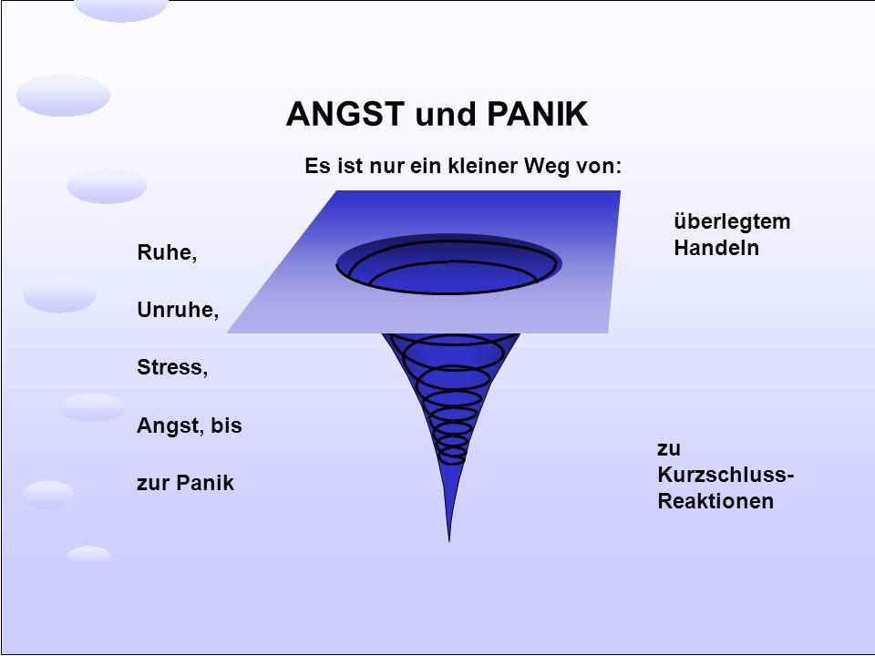 ANGST und PANIK Ruhe, Unruhe, Stress, Angst, bis zur Panik überlegtem Handeln zu Kurzschluss- Reaktionen Es ist nur ein kleiner Weg von: