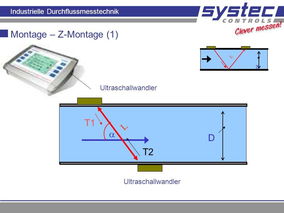 Industrielle Durchflussmesstechnik Prinzip der Laufzeitmessung T1 L D Montage – Z-Montage (1) Ultraschallwandler T2 Prinzip der Laufzeitmessun g L D U