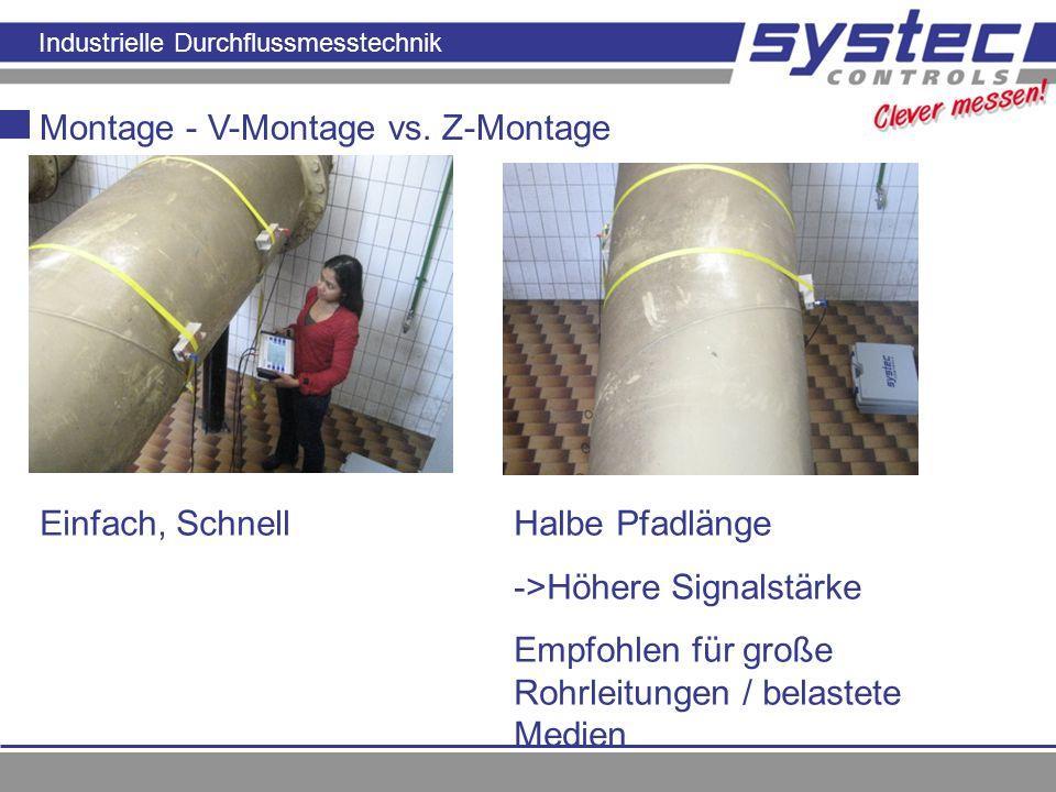Industrielle Durchflussmesstechnik Montage - V-Montage vs. Z-Montage Einfach, SchnellHalbe Pfadlänge ->Höhere Signalstärke Empfohlen für große Rohrlei