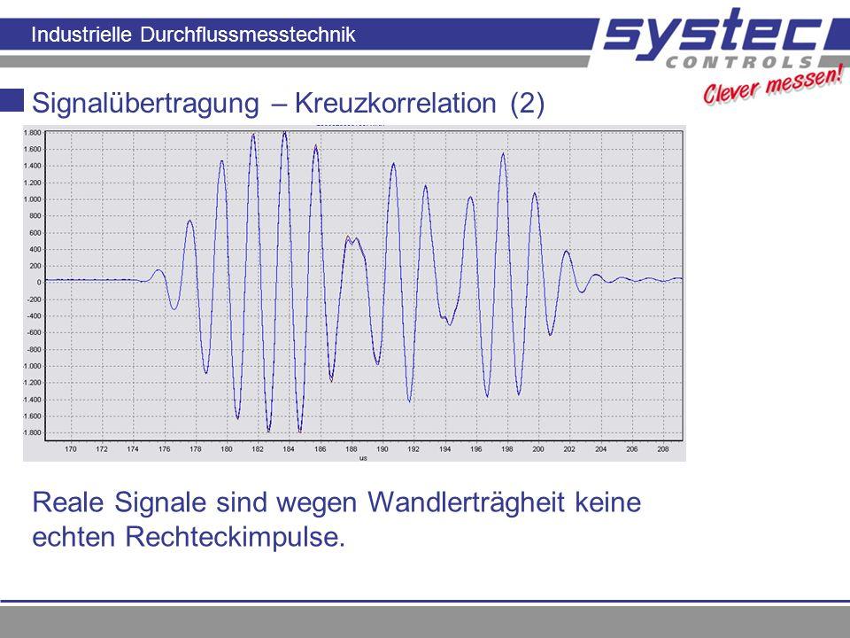 Industrielle Durchflussmesstechnik Signalübertragung – Kreuzkorrelation (2) Reale Signale sind wegen Wandlerträgheit keine echten Rechteckimpulse.