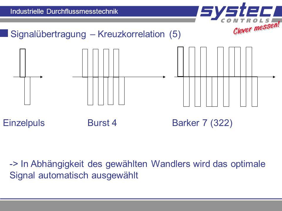 Industrielle Durchflussmesstechnik Signalübertragung – Kreuzkorrelation (5) EinzelpulsBurst 4Barker 7 (322) -> In Abhängigkeit des gewählten Wandlers