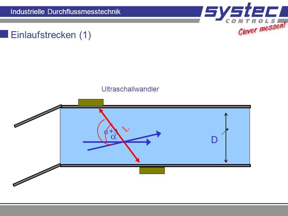 Industrielle Durchflussmesstechnik Prinzip der Laufzeitmessung L D Einlaufstrecken (1) Ultraschallwandler +