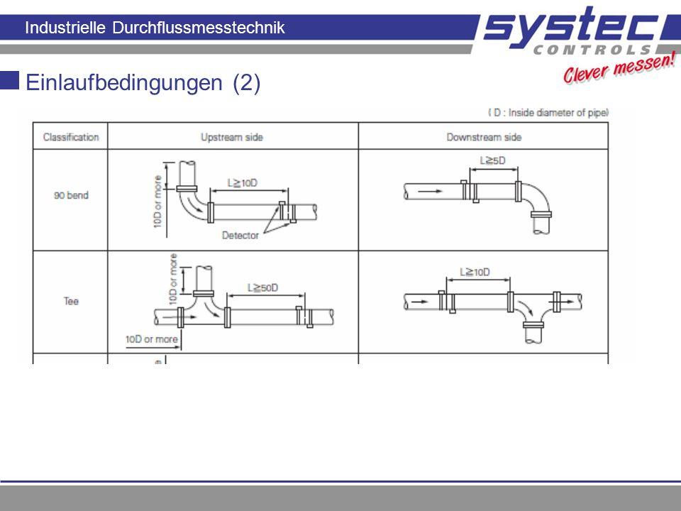 Industrielle Durchflussmesstechnik Einlaufbedingungen (2)