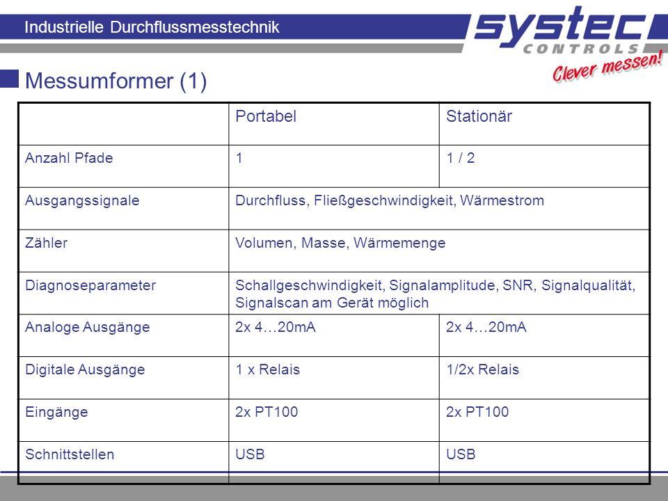 Industrielle Durchflussmesstechnik Messumformer (1) PortabelStationär Anzahl Pfade11 / 2 AusgangssignaleDurchfluss, Fließgeschwindigkeit, Wärmestrom Z