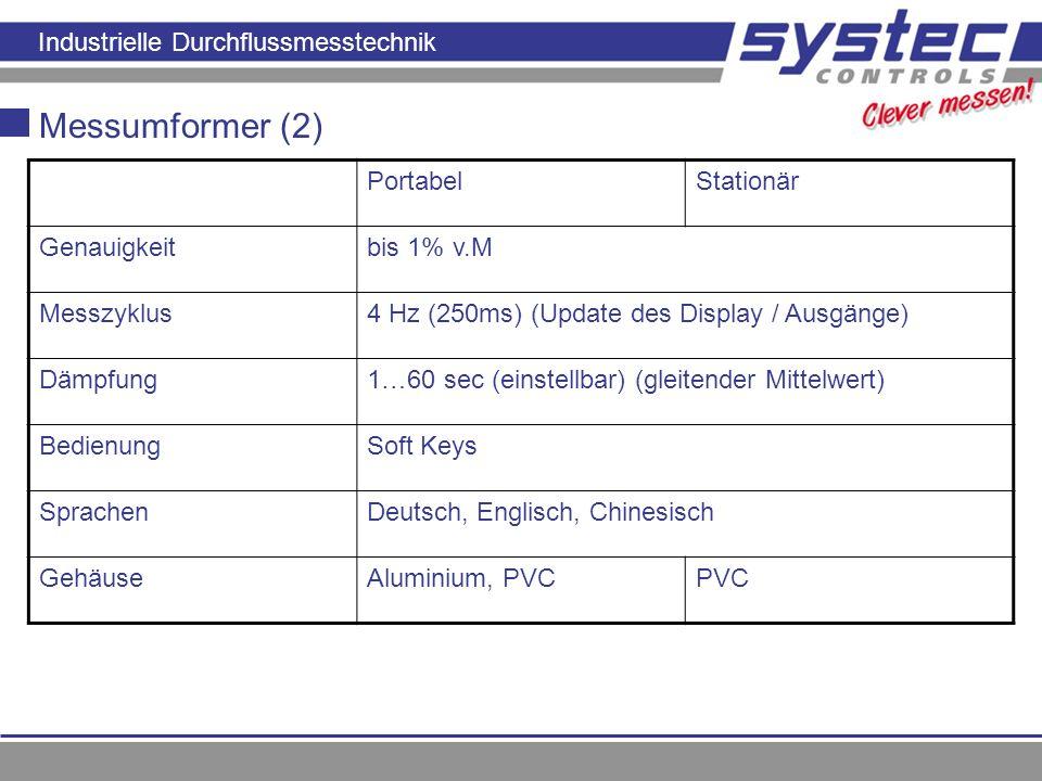 Industrielle Durchflussmesstechnik Messumformer (2) PortabelStationär Genauigkeitbis 1% v.M Messzyklus4 Hz (250ms) (Update des Display / Ausgänge) Däm
