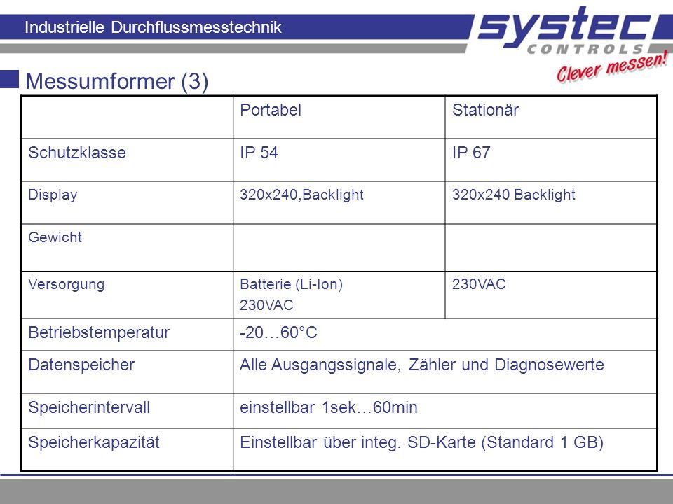Industrielle Durchflussmesstechnik Messumformer (3) PortabelStationär SchutzklasseIP 54IP 67 Display320x240,Backlight320x240 Backlight Gewicht Versorg