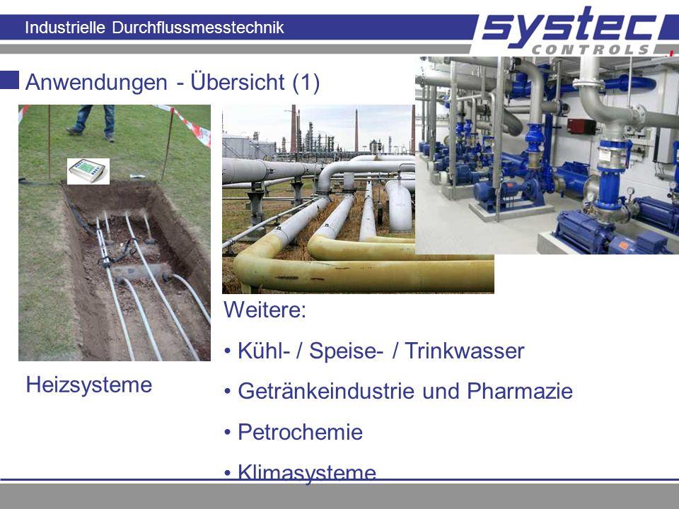 Industrielle Durchflussmesstechnik Anwendungen - Übersicht (1) Heizsysteme Weitere: Kühl- / Speise- / Trinkwasser Getränkeindustrie und Pharmazie Petr