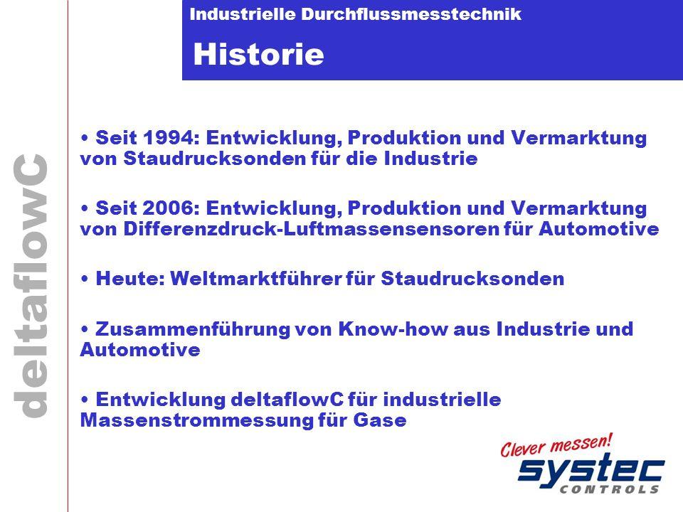 Industrielle Durchflussmesstechnik deltaflowC Historie Seit 1994: Entwicklung, Produktion und Vermarktung von Staudrucksonden für die Industrie Seit 2