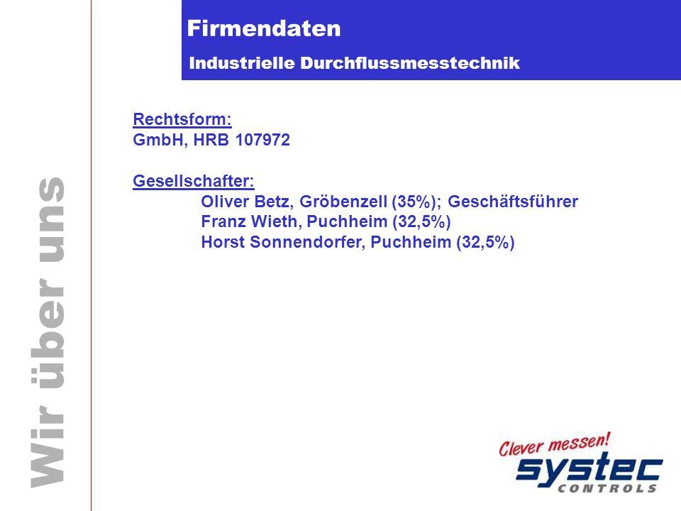 Industrielle Durchflussmesstechnik Wir über uns Firmendaten Rechtsform: GmbH, HRB 107972 Gesellschafter: Oliver Betz, Gröbenzell (35%); Geschäftsführe