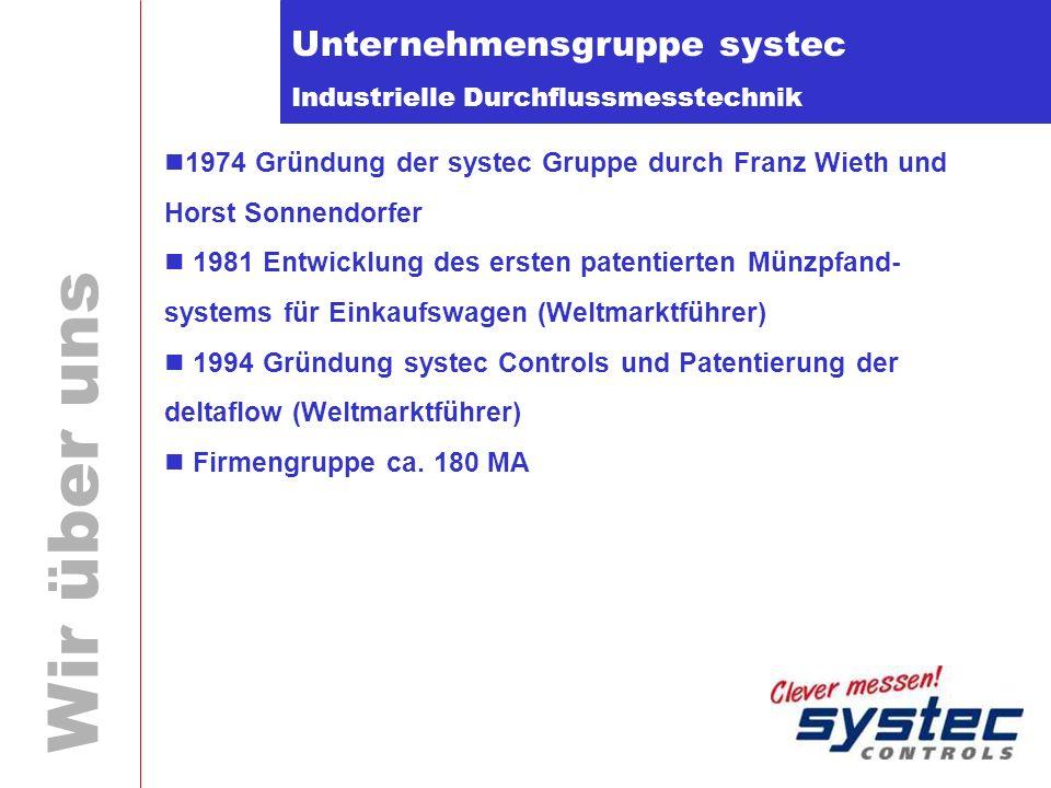Industrielle Durchflussmesstechnik Wir über uns Unternehmensgruppe systec 1974 Gründung der systec Gruppe durch Franz Wieth und Horst Sonnendorfer 198