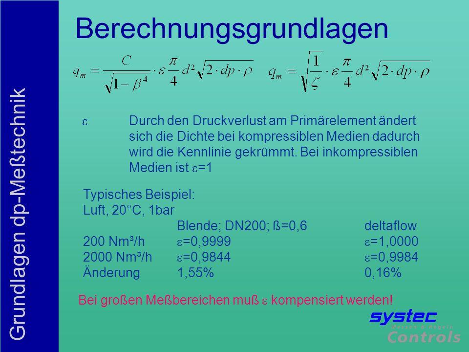 Grundlagen dp-Meßtechnik Berechnungsgrundlagen Durch den Druckverlust am Primärelement ändert sich die Dichte bei kompressiblen Medien dadurch wird di