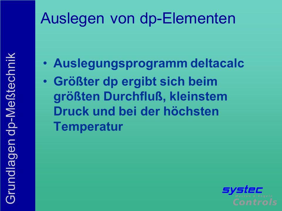 Grundlagen dp-Meßtechnik Auslegen von dp-Elementen Auslegungsprogramm deltacalc Größter dp ergibt sich beim größten Durchfluß, kleinstem Druck und bei