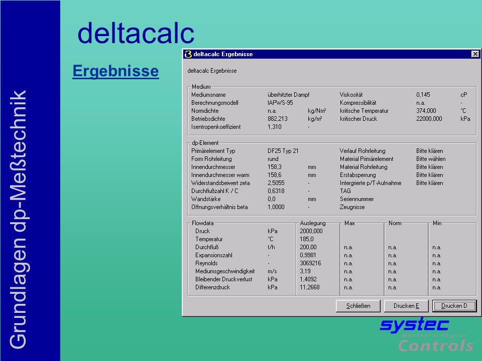 Grundlagen dp-Meßtechnik deltacalc Ergebnisse