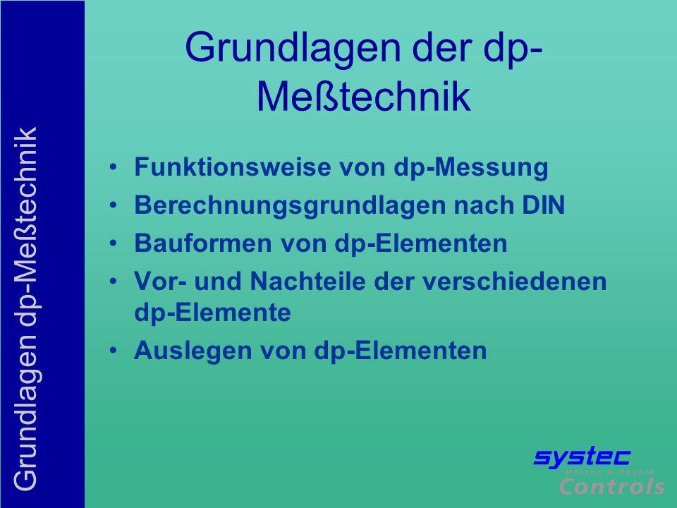 Grundlagen dp-Meßtechnik Energieerhaltungsprinzip kinetische + potentielle Energie bleibt in Summe gleich Bei der dp-Messung erfolgt eine Energieumwandlung von kinetischer Energie (Geschwindigkeit) in potentieller Energie (Druck)