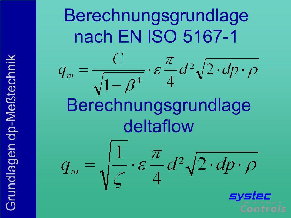 Grundlagen dp-Meßtechnik Berechnungsgrundlagen CDurchflußzahl, Abhängig von Geometrie und Reynolds ßDurchmesserverhältnis d/D Blockagefaktor Expansionszahl, kompensiert die Dichteänderung durch dp dpgemessener Differenzdruck Betriebsdichte
