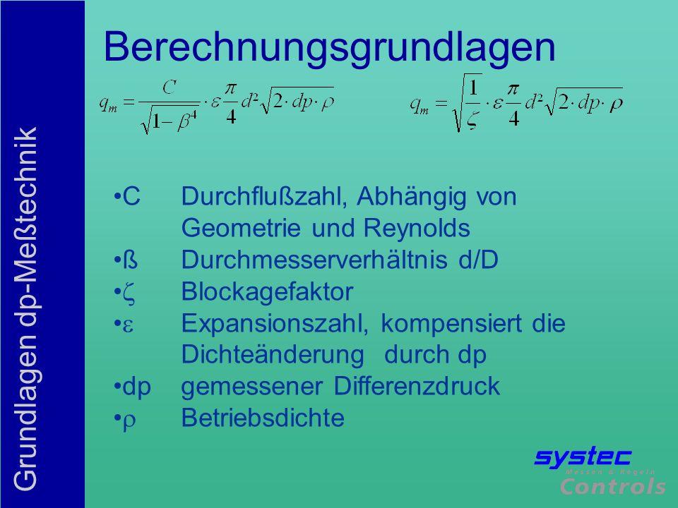 Grundlagen dp-Meßtechnik Berechnungsgrundlagen CDurchflußzahl, Abhängig von Geometrie und Reynolds ßDurchmesserverhältnis d/D Blockagefaktor Expansion