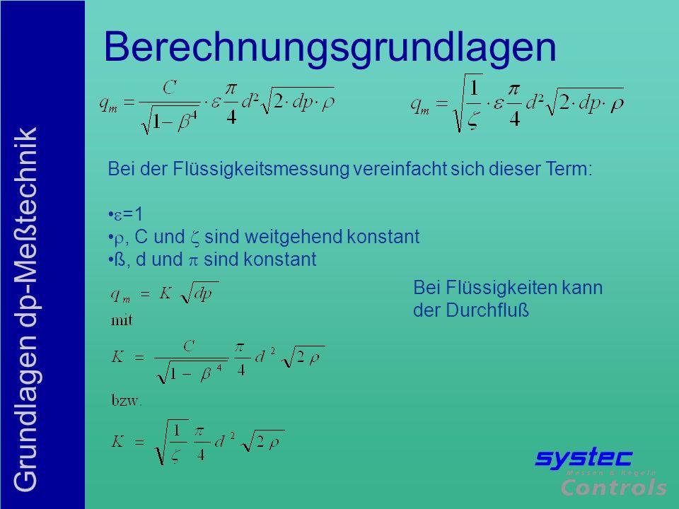 Grundlagen dp-Meßtechnik Berechnungsgrundlagen Der Term entspricht bei der deltaflow dem Blockageterm Dies ist eine aus Versuchen ermittelte Formkonstante des Primärelements Blockagefaktor ist bei der daltaflow ab Re=8000 konstant C ist bei der Blende ein Funktion von Reynolds (Re) Typisches Beispiel: Blende; DN 200; ß=0,5 Re=100.000, C=0,6056 Re=1.000.000, C=0,6032 Änderung= 0,4% deltaflow, DN200 Re=100.000, =2,4093 Re=1.000.000, =2,4093 Änderung=0,0% Bei großen Meßbereichen muß C kompensiert werden!