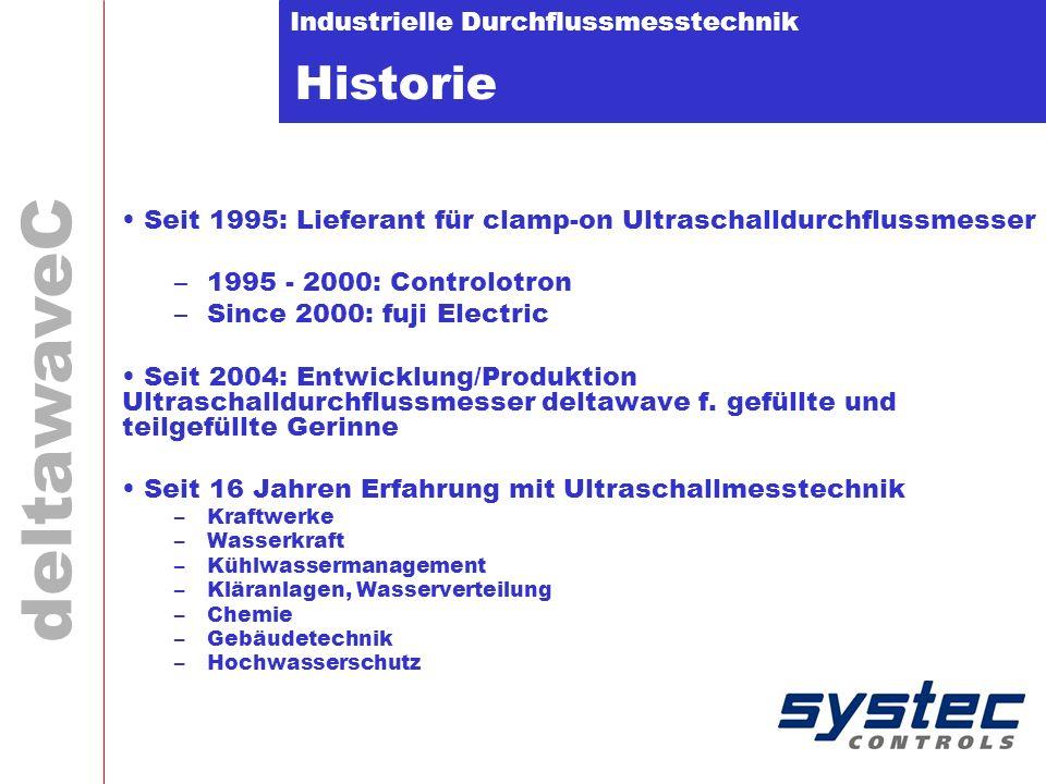 Industrielle Durchflussmesstechnik deltawaveC Historie Seit 1995: Lieferant für clamp-on Ultraschalldurchflussmesser –1995 - 2000: Controlotron –Since