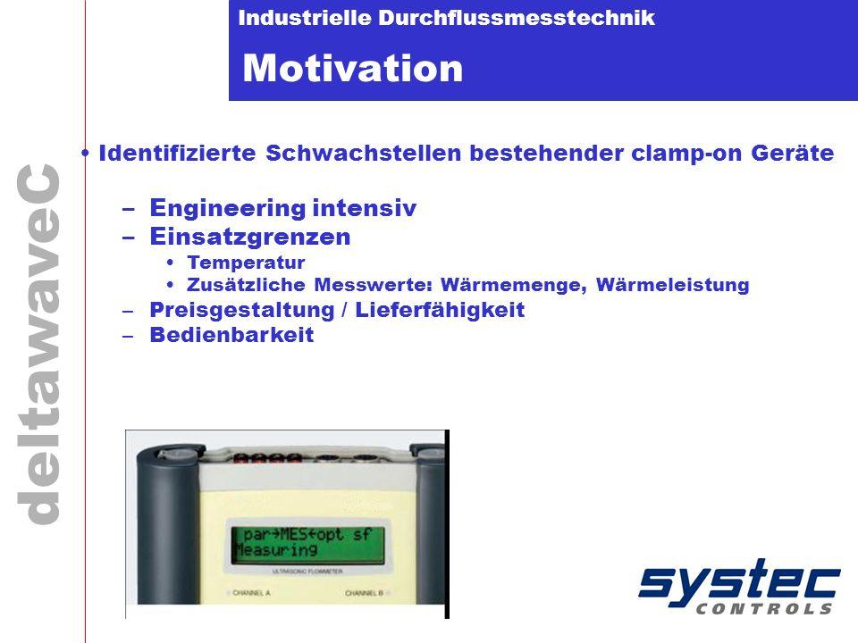 Industrielle Durchflussmesstechnik deltawaveC Motivation Identifizierte Schwachstellen bestehender clamp-on Geräte –Engineering intensiv –Einsatzgrenz